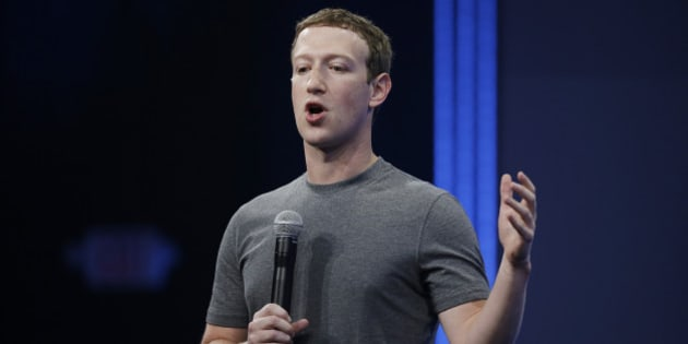 CEO Mark Zuckerberg gestures while talking about the Messenger app during the Facebook F8 Developer Conference Wednesday, March 25, 2015, in San Francisco. Facebook is trying to mold its Messenger app into a more versatile communications channel as smartphones create new ways for people to connect with friends and businesses beyond the walls of the company's ubiquitous social network. (AP Photo/Eric Risberg)