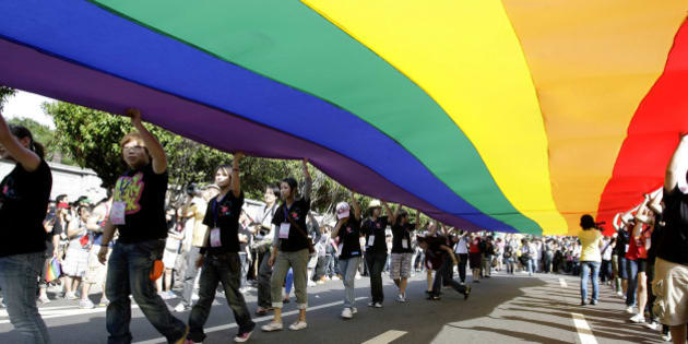 Participants hold a rainbow flag during the Taiwan Gay Pride Parade in Taipei October 31, 2009. Around 25,000 Taiwanese gathered with people from countries including Malaysia, Korea and Japan on Saturday for the annual gay pride parade which is in its seventh year, according to organisers. REUTERS/Pichi Chuang (TAIWAN SOCIETY)
