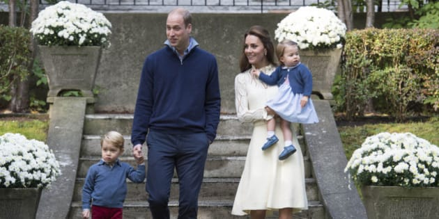 Photo by: KGC-375/STAR MAX/IPx 2016 9/29/16 Prince William The Duke of Cambridge, Catherine The Duchess of Cambridge, Prince George of Cambridge and Princess Charlotte of Cambridge attend a children's party for military families at Government House during the Royal Tour of Canada. (Victoria, British Columbia, Canada)