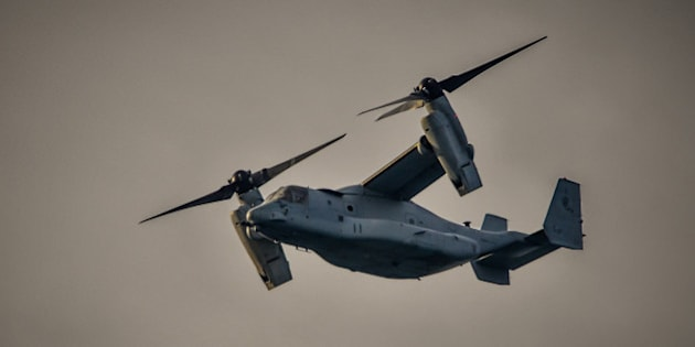 Bell Boeing MV-22 Osprey coming in to land at Kadena Air force base Okinawa Japan