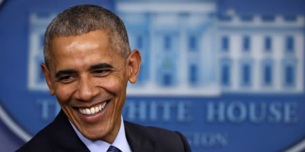 President Barack Obama laughs during a news conference in the briefing room of the White House in Washington, Friday, Dec. 16, 2016. (AP Photo/Pablo Martinez Monsivais)