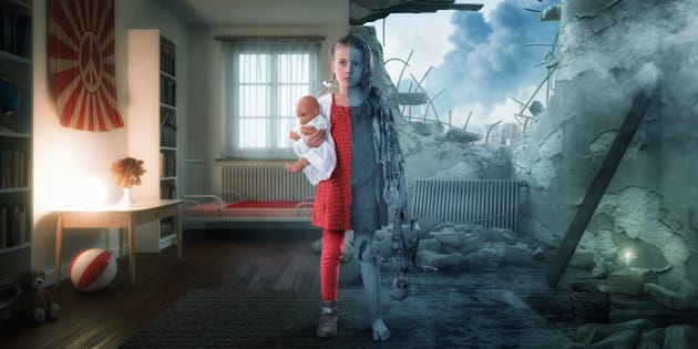 Little girl standing in her room. Half of the room and girl is peaceful and the other half is in war.
