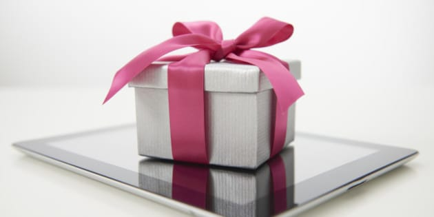 Tablet computer with luxury gift.