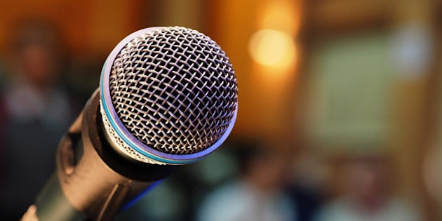 microphone in meeting room and blurred background
