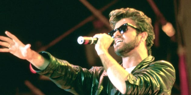 George Michael and Wham performing live at the Live Aid Concert, Wembley Stadium, London on 13th July 1985.;  (Photo by Steve Rapport/Photoshot/Getty Images)