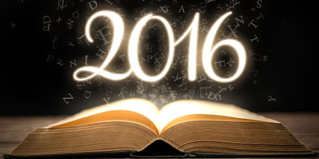 Glowing new year 2016 with magic book.