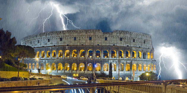Colosseum in the night. Raining and lightning. Rome Italy