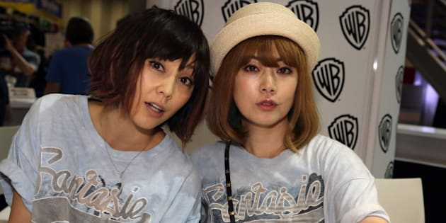 SAN DIEGO, CA - JULY 27:  In this handout photo provided by Warner Bros, Ami Kobashi and Yumi Yoshimura of Puffy AmiYumi special guests  of 'Teen Titans Go!' attend Comic-Con International 2014  on July 27, 2014  in San Diego, California. (Photo by Chris Frawley/Warner Bros. Entertainment Inc. via Getty Images)