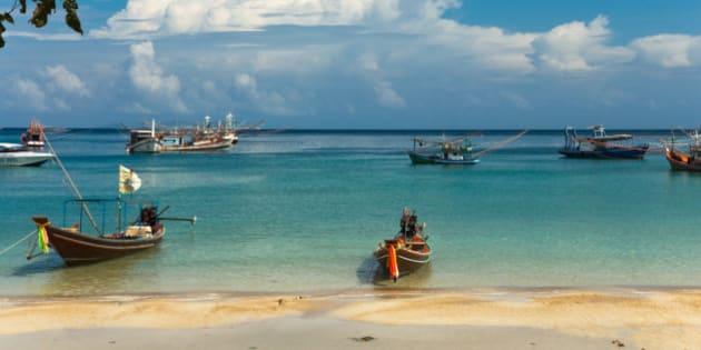 Longtail boats on the beach, Ko Phangan, Thailand
