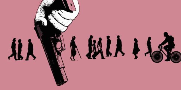 Members of the public unaware of man holding gun