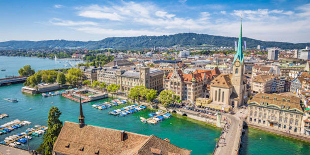 Aerial view of Zürich city center with famous Fraumünster Church and river Limmat at Lake Zurich from Grossmünster Church, Canton of Zürich, Switzerland.