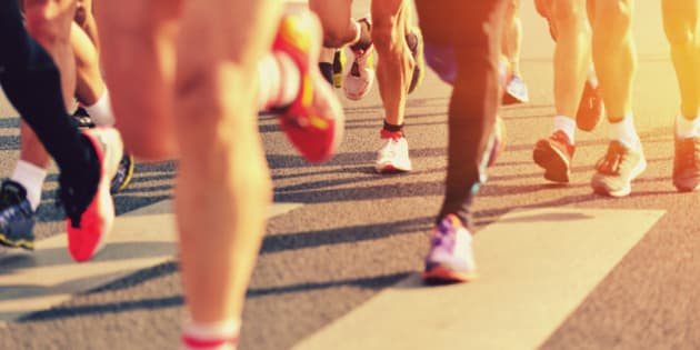 marathon runners on the street