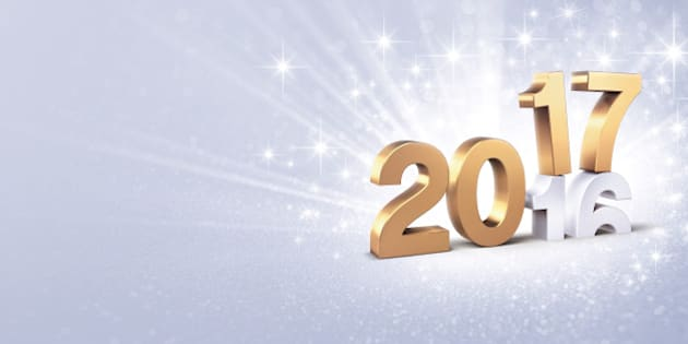 New Year golden 2017 type over 2016 on a bright silver background - 3D illustration
