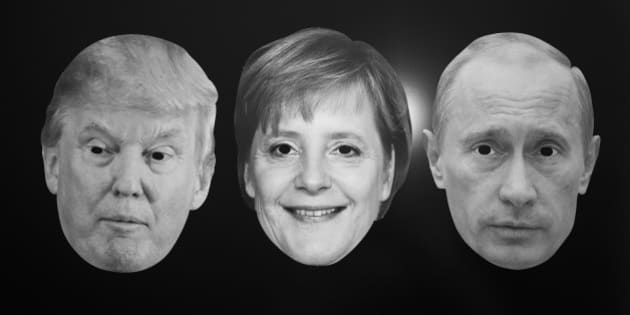 GERMANY, BONN - DECEMBER 13: World Policy - Symbol photo with the masks of Donald Trump, German Chancellor Angela Merkel and the Russian President Vladimir Putin. (Photo by Ulrich Baumgarten via Getty Images)