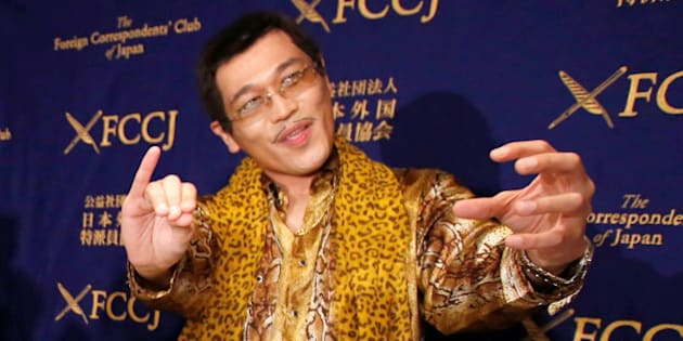 """Japanese singer and song writer Pikotaro, also known by his comedian name Kosaka Daimaou or his real name Kazuhito Kosaka, who is a current Youtube star with his song """"PPAP"""" (short for Pen-Pineapple-Apple-Pen), poses for a photograph during a news conference at the Foreign Correspondents' Club of Japan in Tokyo, Japan October 28, 2016. REUTERS/Issei Kato"""