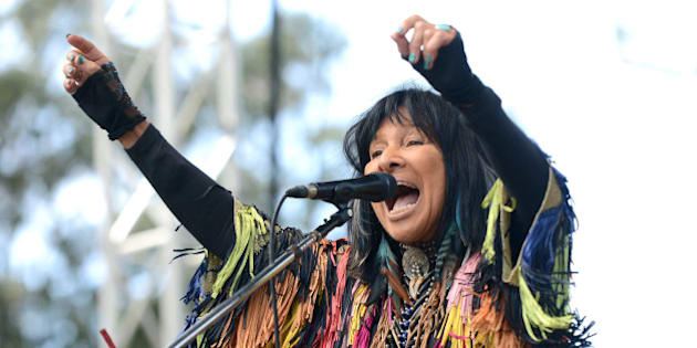 SAN FRANCISCO, CA - OCTOBER 02:  Singer Buffy Sainte-Marie performs onstage during Hardly Strictly Bluegrass at Golden Gate Park on October 2, 2016 in San Francisco, California.  (Photo by Scott Dudelson/Getty Images)