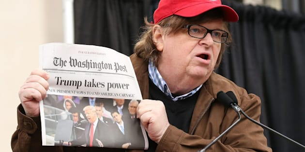 WASHINGTON, DC - JANUARY 21:  Michael Moore speaks at the rally at the Women's March on Washington on January 21, 2017 in Washington, DC.  (Photo by Paul Morigi/WireImage)