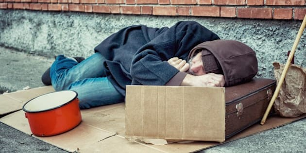 Homeless Sleeping on Sidewalk