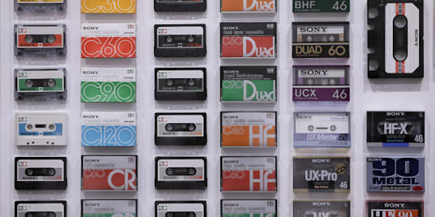 Various Sony Corp. cassette tapes are displayed at the 'It's a Sony' exhibition in Tokyo, Japan, on Saturday, Nov. 12, 2016. The exhibition officially opens today and runs until Feb. 12, 2017. Photographer: Kiyoshi Ota/Bloomberg via Getty Images