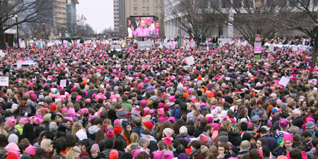 Hundreds of thousands of people take part in the Women's March in Washington on Jan. 21, 2017, to protest U.S. President Donald Trump a day after he took office. (Photo by Kyodo News via Getty Images)