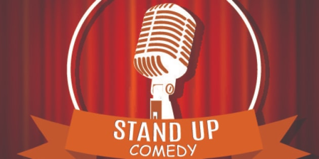 Vintage white silhouette microphone icon against red curtain backdrop. mic on empty theatre stage, vector image illustration. stand up comedian night show background. retro design. ribbon