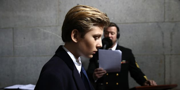 Barron Trump arrives on the West Front of the U.S. Capitol on January 20, 2017 in Washington, DC. In today's inauguration ceremony Donald J. Trump becomes the 45th president of the United States. REUTERS/Win McNamee/Pool