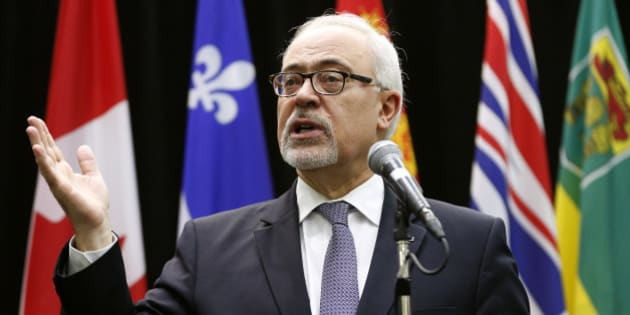 Quebec's Minister of Finance Carlos Leitao addresses the media before a meeting of Canada's Provincial Finance Ministers in Ottawa, Canada December 21, 2015. REUTERS/Blair Gable