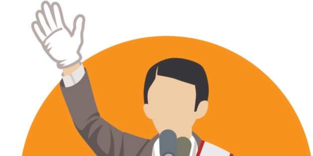 Vector illustration of Japanese politician in election campaign.
