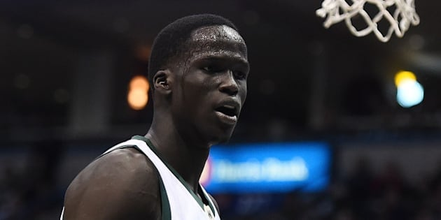 MILWAUKEE, WI - JANUARY 28:  Thon Maker #7 of the Milwaukee Bucks reacts to an officials call during a game against the Boston Celtics at the BMO Harris Bradley Center on January 28, 2017 in Milwaukee, Wisconsin.  NOTE TO USER: User expressly acknowledges and agrees that, by downloading and or using this photograph, User is consenting to the terms and conditions of the Getty Images License Agreement.  (Photo by Stacy Revere/Getty Images)