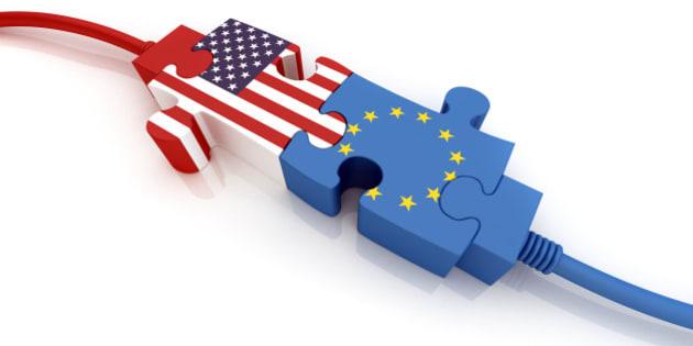 USA and European Union. Digitally Generated Image isolated on white background