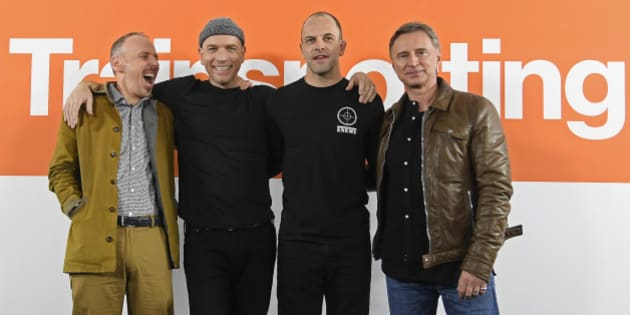 "Cast members of the film ""T2 Trainspotting"", (L to R) Ewan Bremner, Ewan McGregor, Jonny Lee Miller and Robert Carlyle attend a media event in London, Britain January 25, 2017. REUTERS/Toby Melville"