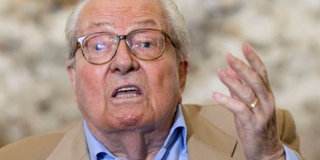 French far-right Front National (National Front - FN) party founder and former leader Jean-Marie Le Pen  delivers a speech during a press conference for the creation of the 'Jeanne Comites' (Jeanne comittes), following the decision by the FN leadership to canceled the annual Jeanne d'Arc (Joan of Arc) parade, on September 28, 2016 in Mormant, near Paris. / AFP / GEOFFROY VAN DER HASSELT        (Photo credit should read GEOFFROY VAN DER HASSELT/AFP/Getty Images)