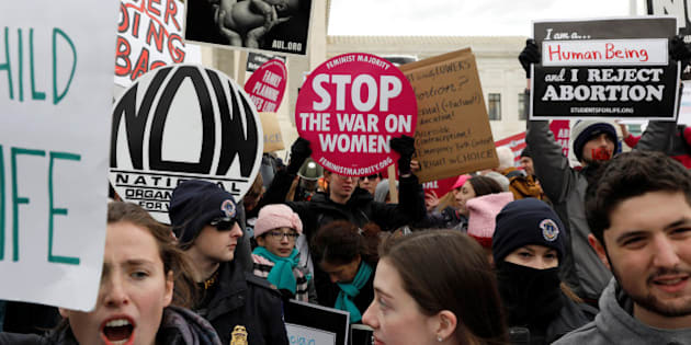 Pro-life activists gather outside the Supreme Court for the National March for Life rally in Washington, DC, U.S. January 27, 2017. REUTERS/Aaron P. Bernstein