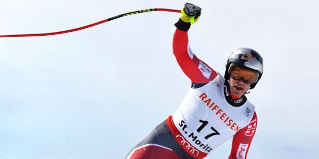 Canada's Erik Guay reacts in the finish area of the men's downhill race at the 2017 FIS Alpine World Ski Championships in St Moritz on February 12, 2017. / AFP / JOE KLAMAR        (Photo credit should read JOE KLAMAR/AFP/Getty Images)