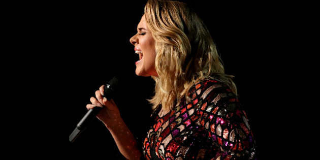 """Adele sings """"Hello"""" at the 59th Annual Grammy Awards in Los Angeles, California, U.S., February 12, 2017. REUTERS/Lucy Nicholson"""
