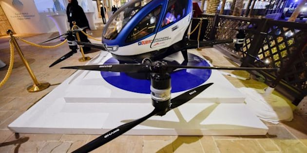 A model of the EHang 184 autonomous aerial vehicle is displayed at the World Government Summit 2017 in Dubai's Madinat Jumeirah on February 13, 2017. / AFP / STRINGER        (Photo credit should read STRINGER/AFP/Getty Images)