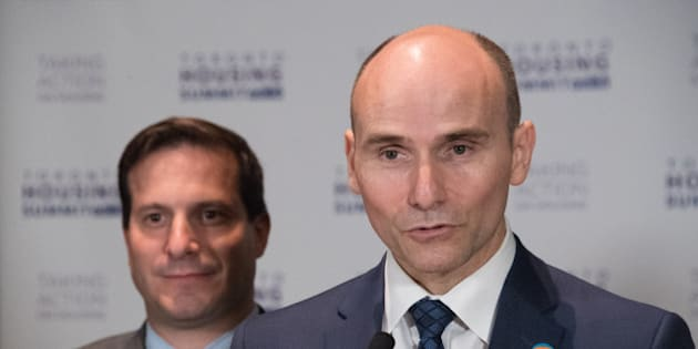 TORONTO, ONTARIO, CANADA - 2016/09/30: Jean-Yves Duclos, Minister of Families, Children and Social Development at Toronto Affordable Housing Summit. To his left: MP Marco Mendocino. (Photo by Roberto Machado Noa/LightRocket via Getty Images)