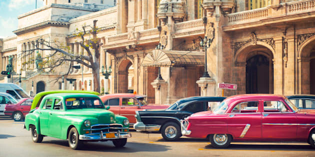 Cars parked nearGran Theatre and el Capitolio in the center of La Havana, Cuba