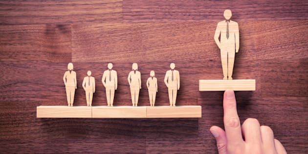 Successful team leader (manager, CEO, market leader) and another business leading concepts. Standing out from the crowd.