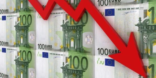 Graph euro finance crisis concept