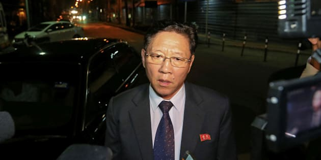 North Korea's ambassador to Malaysia, Kang Chol addresses the media on February 18, 2017 at the main gate of the forensic wing at the Kuala Lumpur Hospital, where the body of Kim Jong-Nam, the half brother of the North Korean leader, is being kept. 