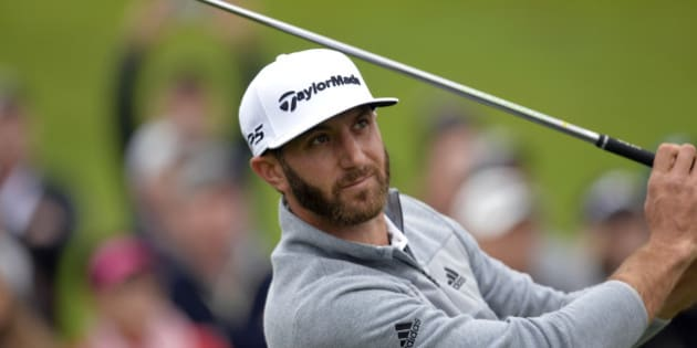 February 19, 2017; Pacific Palisades, CA, USA;  Dustin Johnson hits from the tenth hole tee box during the continuation of third round play in the Genesis Open golf tournament at Riviera Country Club. Mandatory Credit: Gary A. Vasquez-USA TODAY Sports