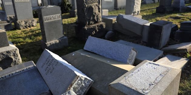 Vandalized tombstones are seen at the Jewish Mount Carmel Cemetery, February 26, 2017, in Philadelphia, PA.  Police say more than 100 tombstones were vandalized a week after a Jewish cemetery in St. Louis was desecrated. / AFP / DOMINICK REUTER        (Photo credit should read DOMINICK REUTER/AFP/Getty Images)