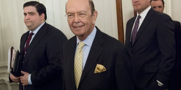Wilbur Ross, nominee for Secretary of Commerce, arrives for a meeting with US President Donald Trump and manufacturing CEOs in the State Dining Room at the White House in Washington, DC, February 23, 2017. / AFP / SAUL LOEB        (Photo credit should read SAUL LOEB/AFP/Getty Images)