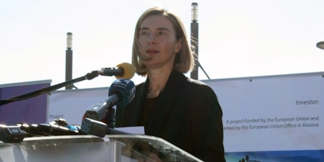 MITROVICA, KOSOVO - MARCH 04: High Representative of the European Union for Foreign Affairs and Security Policy, Federica Mogherini delivers a speech during her visit at a bridge restored by the European Union in Mitrovica, Kosovo on March 4, 2017.  (Photo by Zulfiya Yakup/Anadolu Agency/Getty Images)