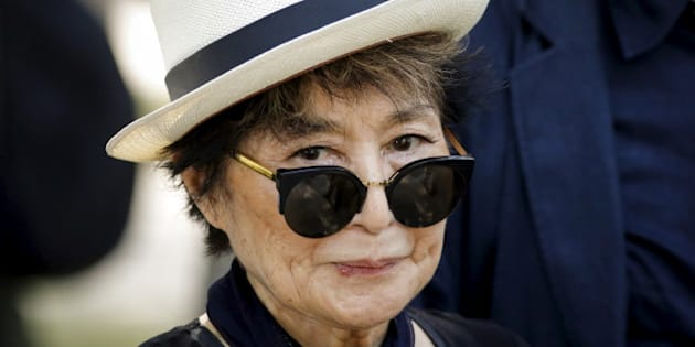 Artist Yoko Ono, widow of John Lennon, attends the unveiling of a tapestry honoring Lennon at Ellis Island in New York July 29, 2015. REUTERS/Eduardo Munoz