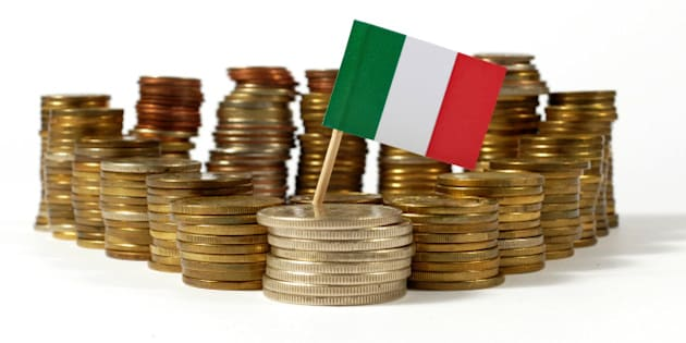Italy flag waving with stack of money coins