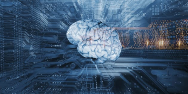 human brain on a computers circuit-board, artificial intelligence and communication