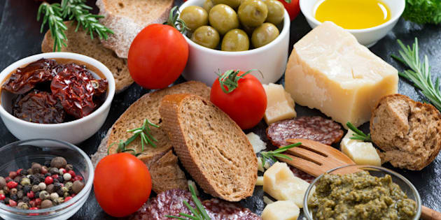 assortment of delicious antipasti, close-up