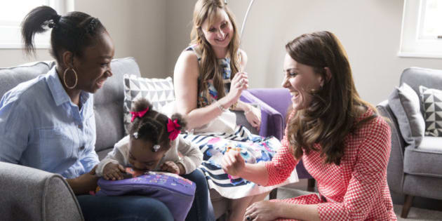 LONDON, ENGLAND - MARCH 23:  Catherine, Duchess of Cambridge meets a mother, Kirsty Francois, 21, and her daughter Teegan-Mia, 2, during a meeting with a parent support group at the launch of maternal mental health films ahead of mother's day at Royal College of Obstetricians and Gynaecologists on March 23, 2017 in London, England.  The educational films have been created by Best Beginnings, a charity partner of the Heads Together Campaign.  (Photo by Heathcliff O'Malley - WPA Pool/Getty Images)